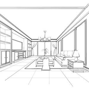 客厅素描图-欧式风格-简欧客厅装修效果图 简欧客厅装修图片 简欧客厅
