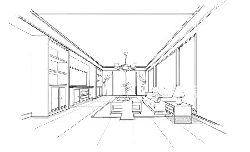 简欧- 客厅素描图-欧式风格