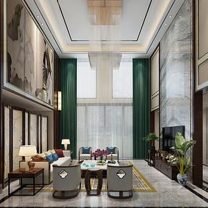 泊岸森邻别墅550平米新中式风格装修设计