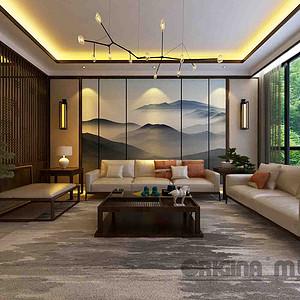 重庆东原湖山樾+新中式+客厅
