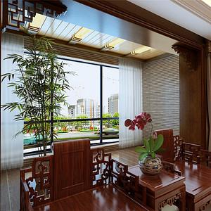 中式古典风格--阳台