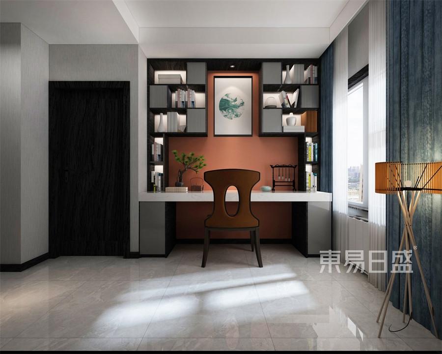三居室-新中式-书房-效果图