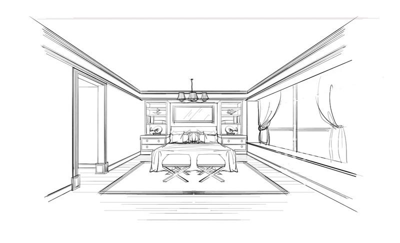 客厅素描图-欧式风格效果图_装修效果图大全2018图片