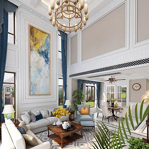 新区碧桂园现代美式风格客厅装修效果图