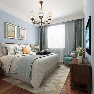 新区碧桂园现代美式风格卧室装修效果图