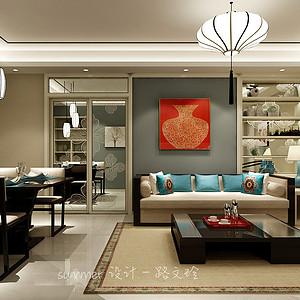 林荫大院97平二室二厅新中式风格装修案例