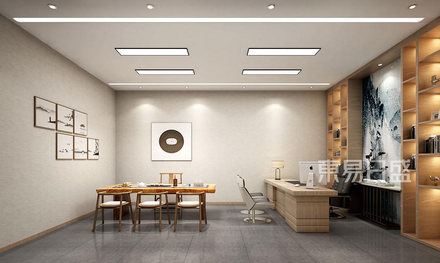 平夏工业区420㎡现代新中式办公室装修效果图