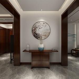 三居室-新中式-玄关-效果图
