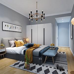 119㎡三居室北欧风格主卧效果图