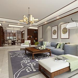 中广怡景湾尚城新中式风格客厅效果图