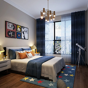93㎡三居室现代风格儿童房效果图