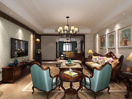 亮丽家园 美式装修效果图 平层 160平米
