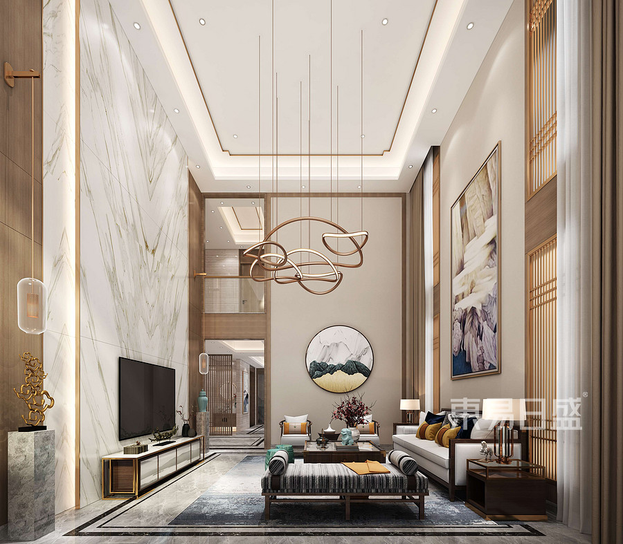 别墅-新中式风格-客厅效果图
