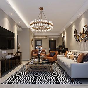 93㎡三居室现代风格客厅效果图