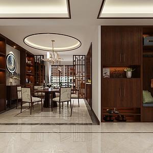 中广怡景湾尚城新中式风格餐厅效果图