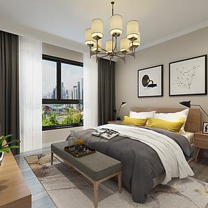 紫御润园现代简约风格卧室装修效果图