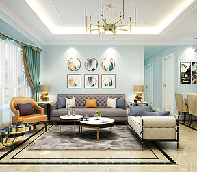 翠湖山庄现代美式客厅装修效果图