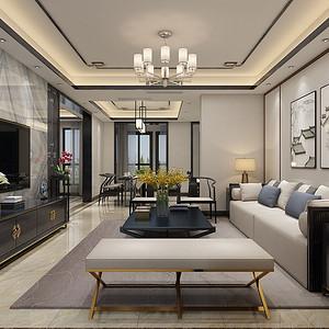 丽彩溪岸庄园 新中式装修效果图 147㎡ 四室二厅