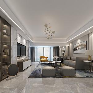 香山美墅果岭 现代简约装修效果图 180平米 新房装饰设计方案