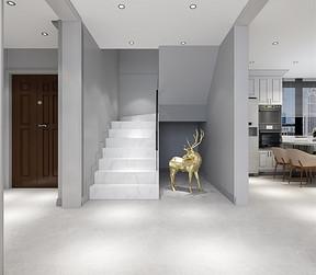 复式-轻奢风格-楼梯通道-效果图