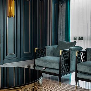 定江洋285平现代轻奢实景客厅沙发