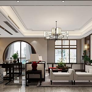 建发独墅湾240m²新中式风格装修效果图