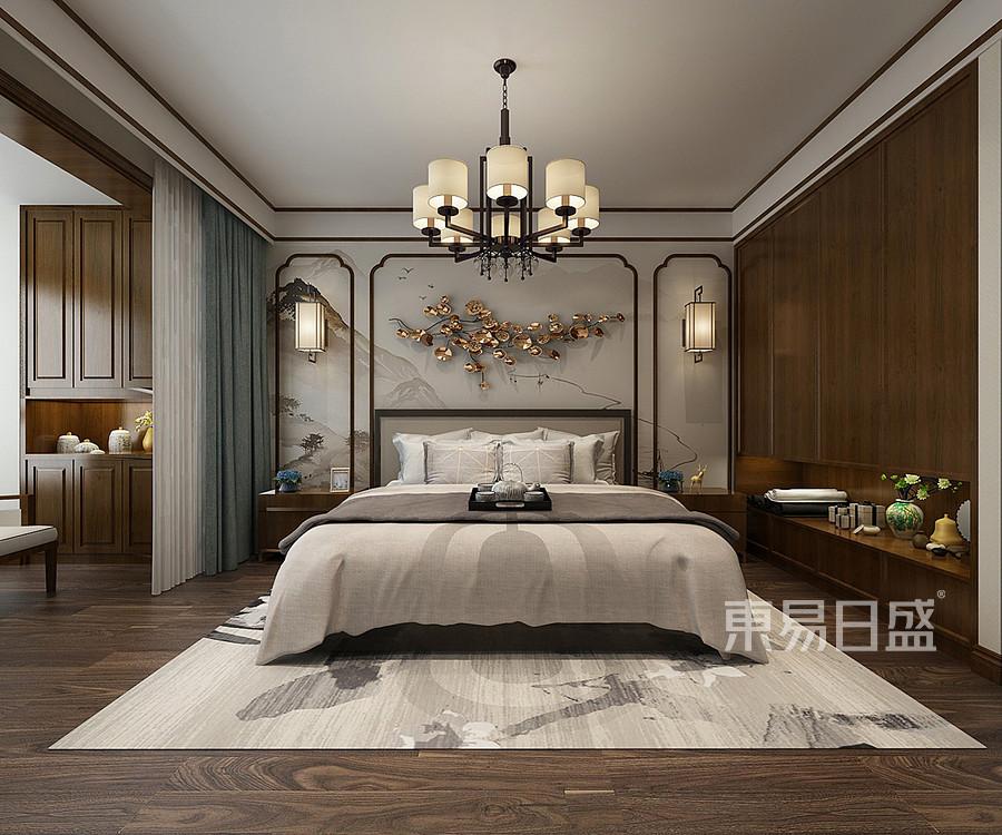 世纪龙庭新中式风格卧室装修效果图效果图_2018装修