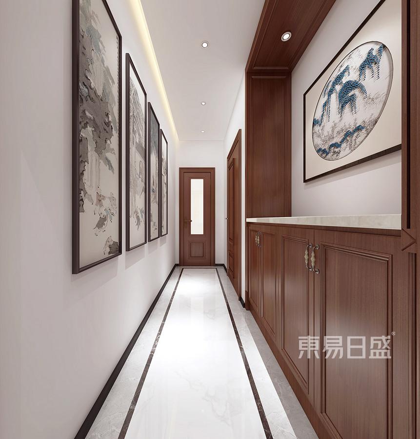 厚街海逸豪庭别墅新中式过道装修效果图