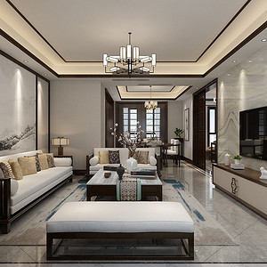 丽彩溪岸庄园 新中式装修效果图 四室二厅两卫 147㎡