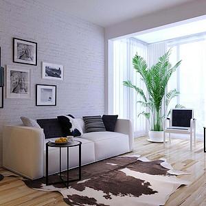 法式公寓-现代简约-客厅装修效果图