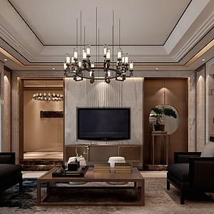 高尔夫别墅310㎡新中式装修风格