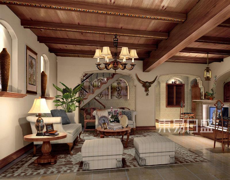欧式古典 - 别墅地下室客厅装修效果图