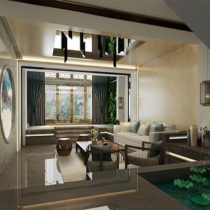 别墅-新中式-客厅-效果图