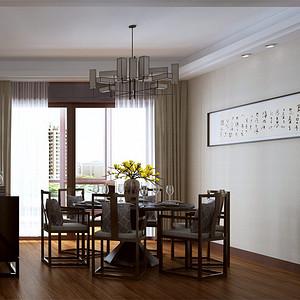 新中式餐厅:简洁线条的桌椅,配上字画