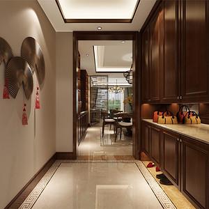 普通住宅-新中式-入户门厅-效果图
