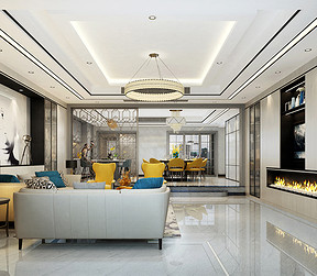 佛奥湾现代风格客厅装修效果图