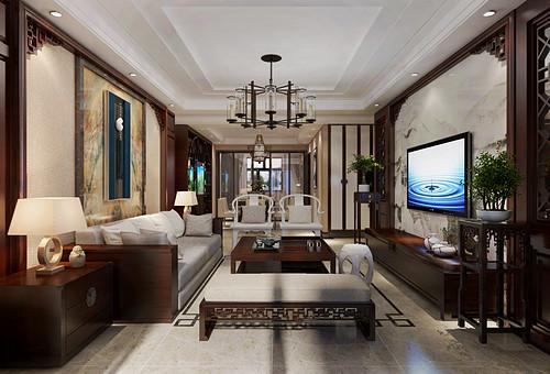 中海河山郡-140平米-新中式风格三室两厅装修案例效果图