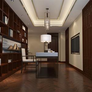 别墅-新中式-书房-效果图
