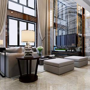 绿景虹湾 新中式风格 148平米 两室两厅装修效果图