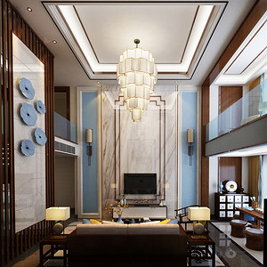 别墅-新中式-客厅电视背景墙-效果图