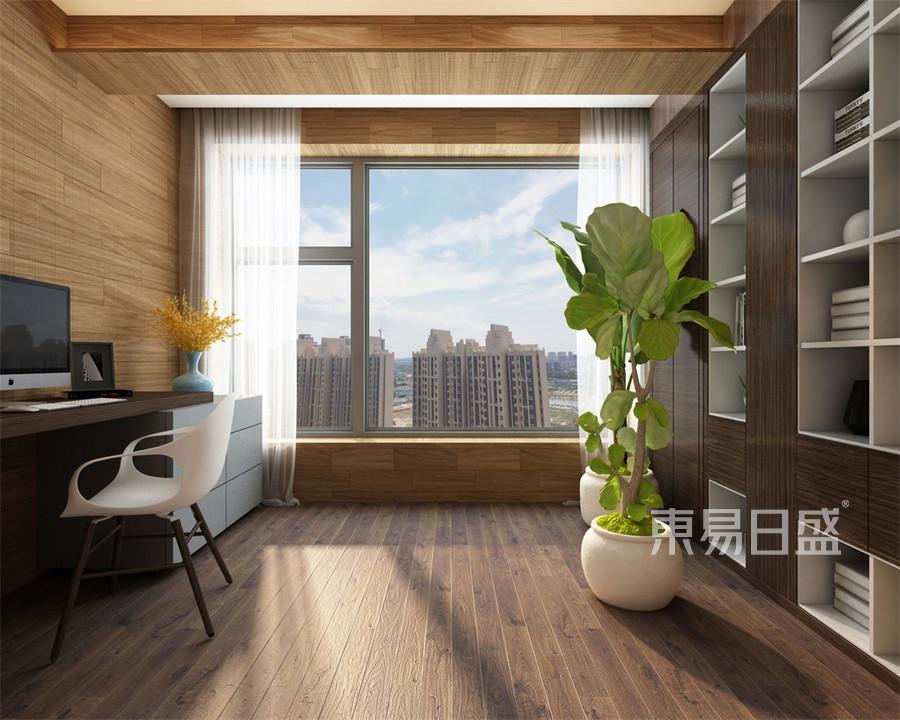 三居室-新中式-主卧阳台-效果图