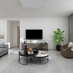 三居室-现代简约-客厅电视背景墙-效果图