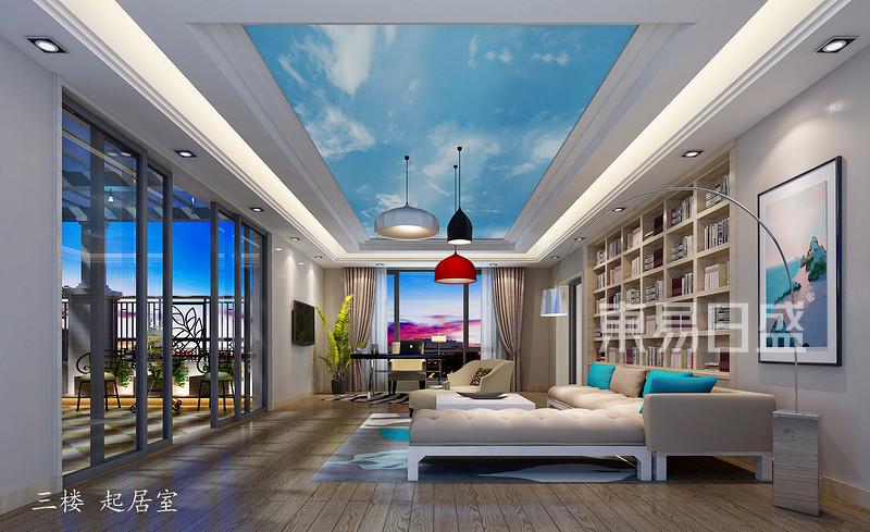 御花园天珺湾1500㎡别墅起居室装修效果图