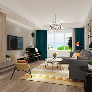 保利拉菲 三室二厅 现代简约风格装修案例