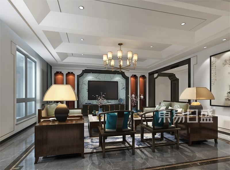 新中式电视背景墙效果图,别墅-新中式-客厅电视背景墙-效果图