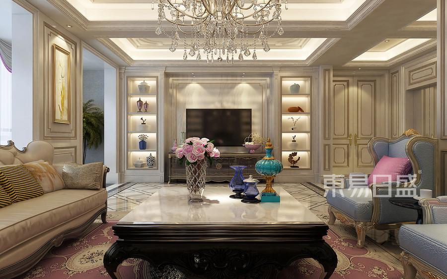 欧式古典二楼客厅装修设计效果图_2018装修案例图片