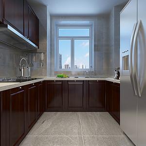 新中式风格-厨房-装修效果图