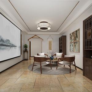 别墅-新中式-多功能厅-效果图
