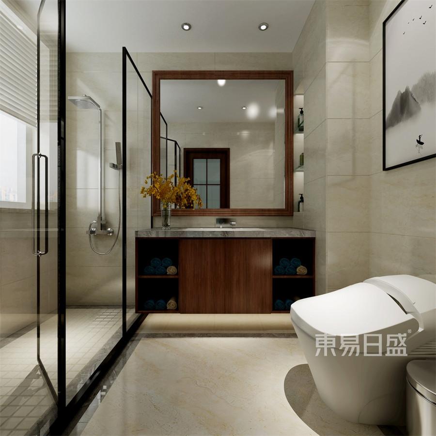普通住宅-新中式-老人房卫生间-效果图