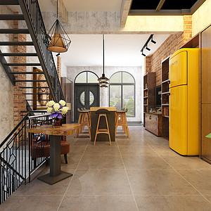 客厅对着餐厅的视觉空间